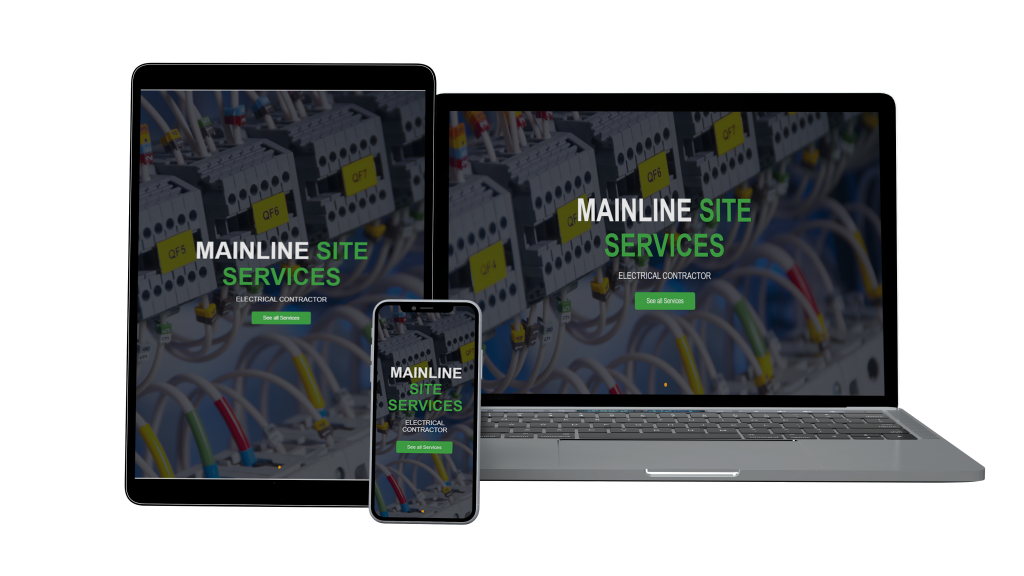 Website mockup for mainline site services