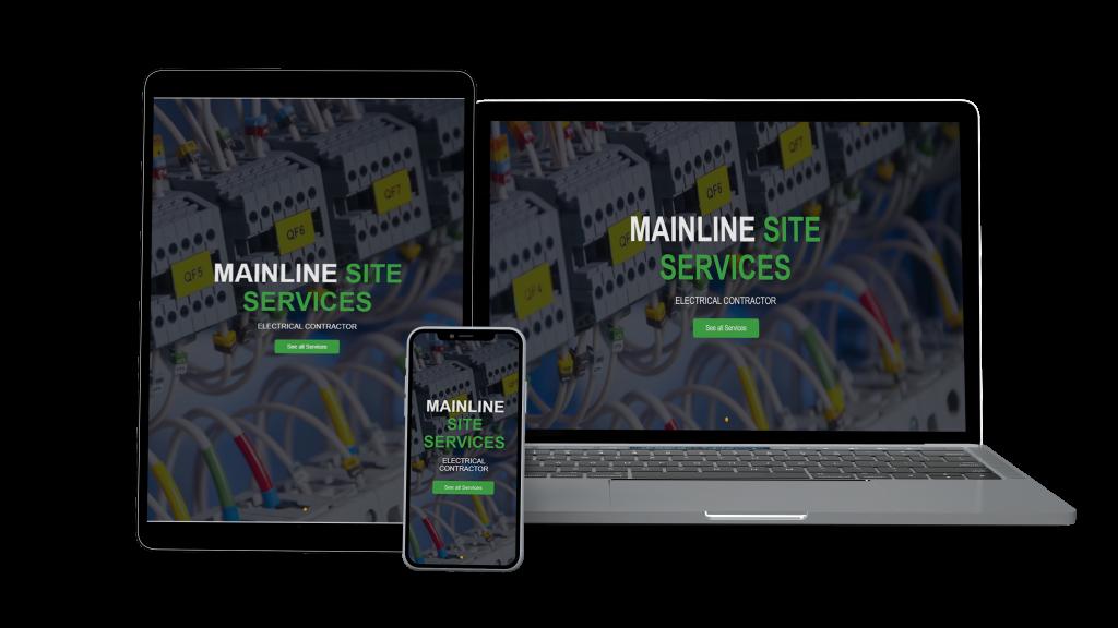 Website mockup for mainline site services