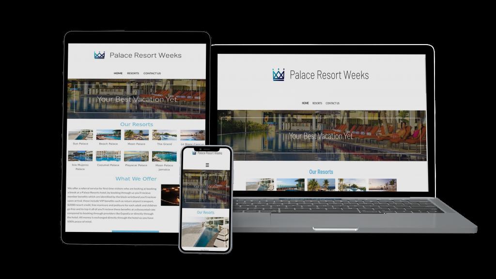 Website mockup for palace resort weeks