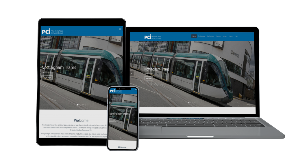 Website mockup for premier cable installations
