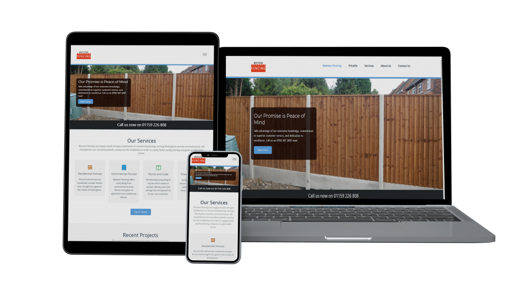 Website mockup for beeston fencing