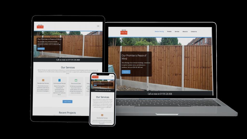 Website mockup for beeston fencing